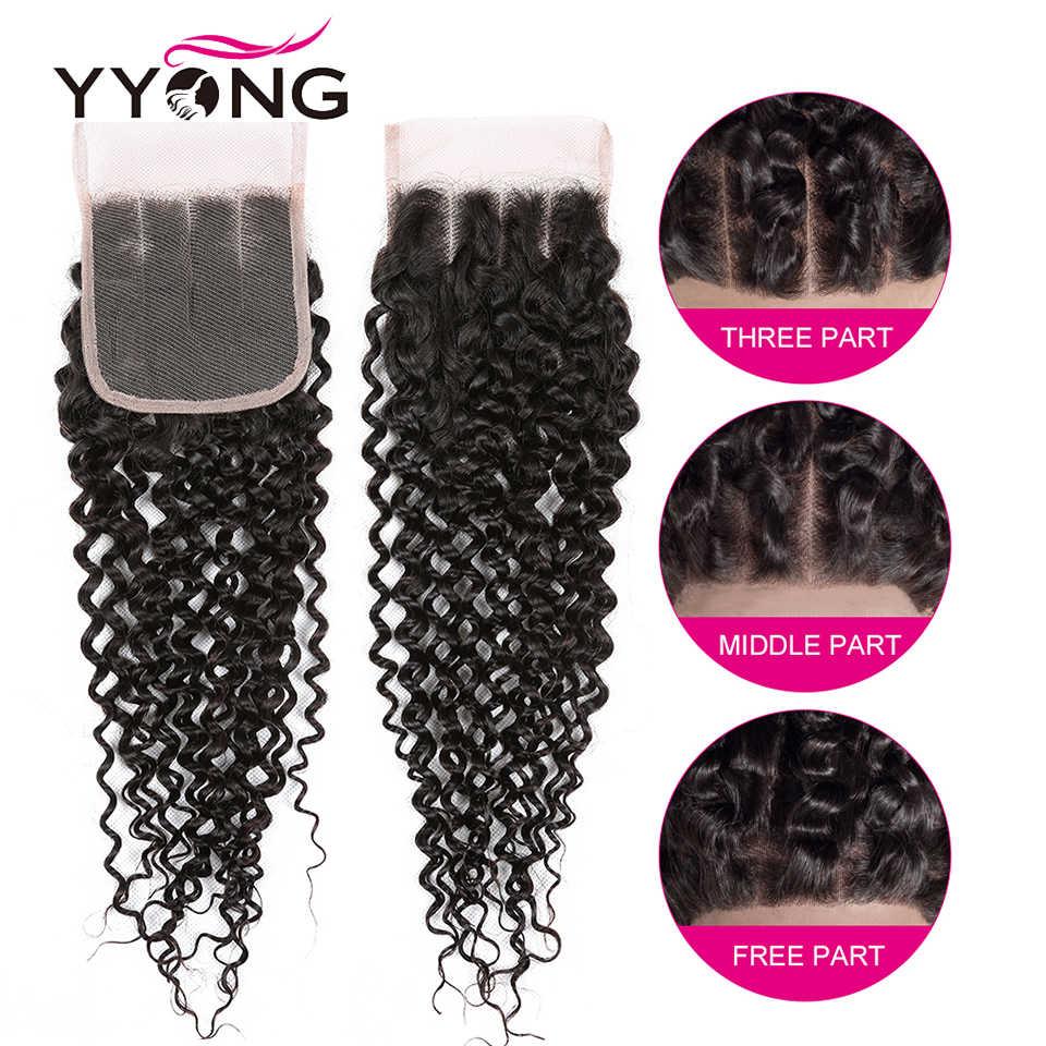 Yyong włosów 3/4 brazylijski perwersyjne kręcone wiązki z zamknięciem 100% Remy ludzkie włosy splot wiązki z 4x4 zamknięcie koronki może być barwione