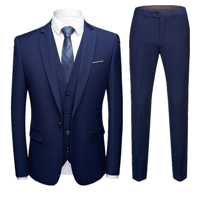 Men Groom Suit Three-piece Set Korean-style Slim Fit Casual Work Suit Set Men's Wear