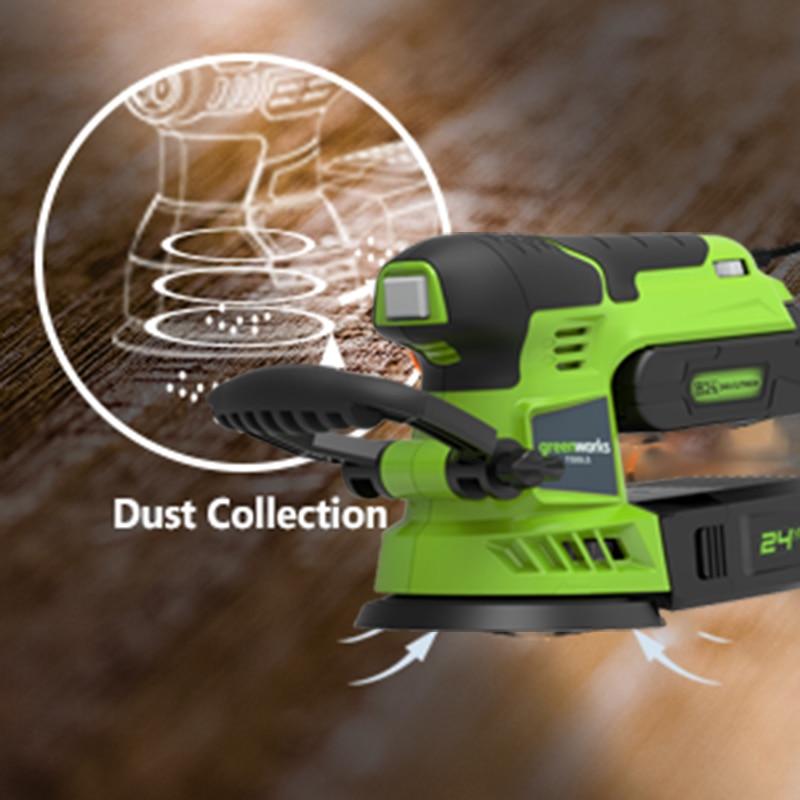 Tools : Greenworks 24V Cordless Random Orbit Sander with sandpaper Lithium-Ion Battery 12000 min Power Tools