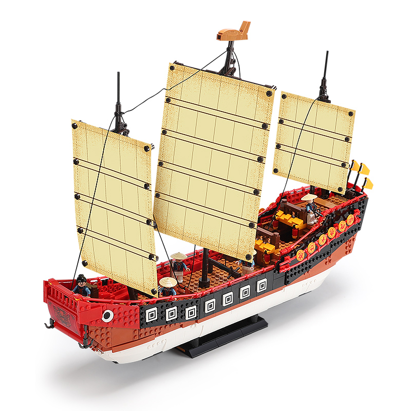 Купить с кэшбэком Xingbao 25001 Sailboat Series Classic Chinese Cantonese Galleon Model Kit Building Blocks Bricks Compatible Lepining Ship Gifts