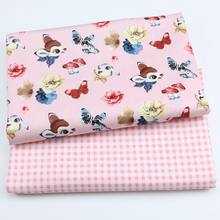 160CM*50CM blue Butterfly mushroom bunny baby cotton cloth fabric kids bedding quilting baby apparel fabric decor sewing tissue(China)
