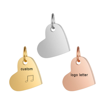 Customized Charms for Jewelry Making Gold Stainless Steel Heart Pendant Engrave Logo Letter Diy Earring Bracelet Necklace Lots недорого