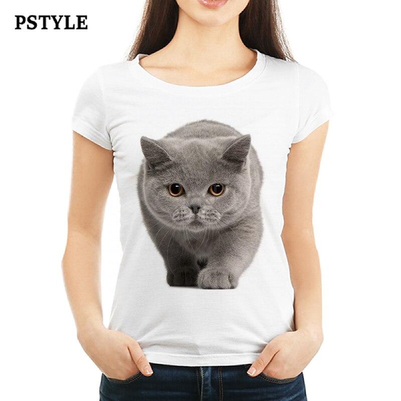 Cute British Shorthair Cat T-Shirt Summer Women Girl Friend Gift T-shirt Felinae Printed T Shirt Harajuku Tops Funny Female Tee