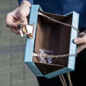 Image 4 - Boutique De FGG Women Black Acrylic Box Clutch Handbags Flower Crystal Evening Purses Party Chain Shoulder Crossboday Bag