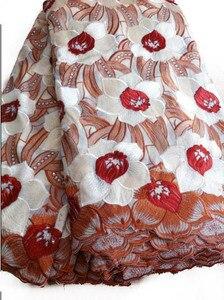 Бесплатная доставка бежевое высококачественное свадебное кружевное Африканское полотно 5 ярдов 100% хлопок швейцарская вуаль Lace-NB0189a
