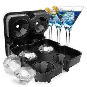 Лоток шарик виски льда формы для крема формы шоколада для вечерние 4 ячейки алмазные ледяные шары формы силиконовые кубики льда #1