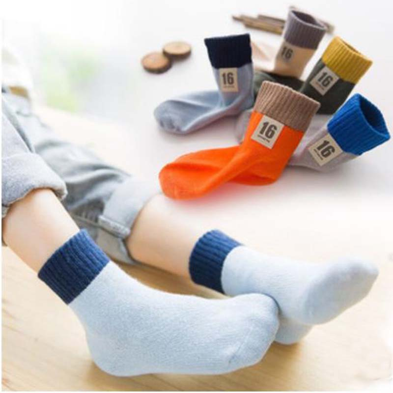 5 Pair=10PCS/lot 2019 New Kids Socks Thick winter Comfortable Breathable Cotton Fashion Baby Socks Toddler Kids for 2~9 Year Old