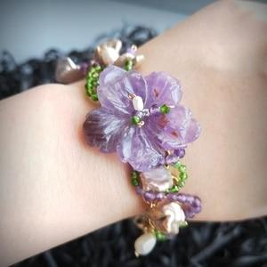 Image 4 - Lii Ji Genuine Amethysts Diopside Freshwater Pearl Bracelet Handmade Jewelry Open Bangle  For Women Gift Drop Shipping