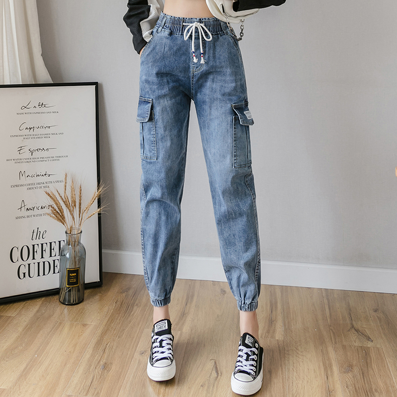 High Waist Cargo Jeans Woman Streetwear Plus Size Blue Mom jeans Ladies women pockets Denim pants Loose jeans mujer