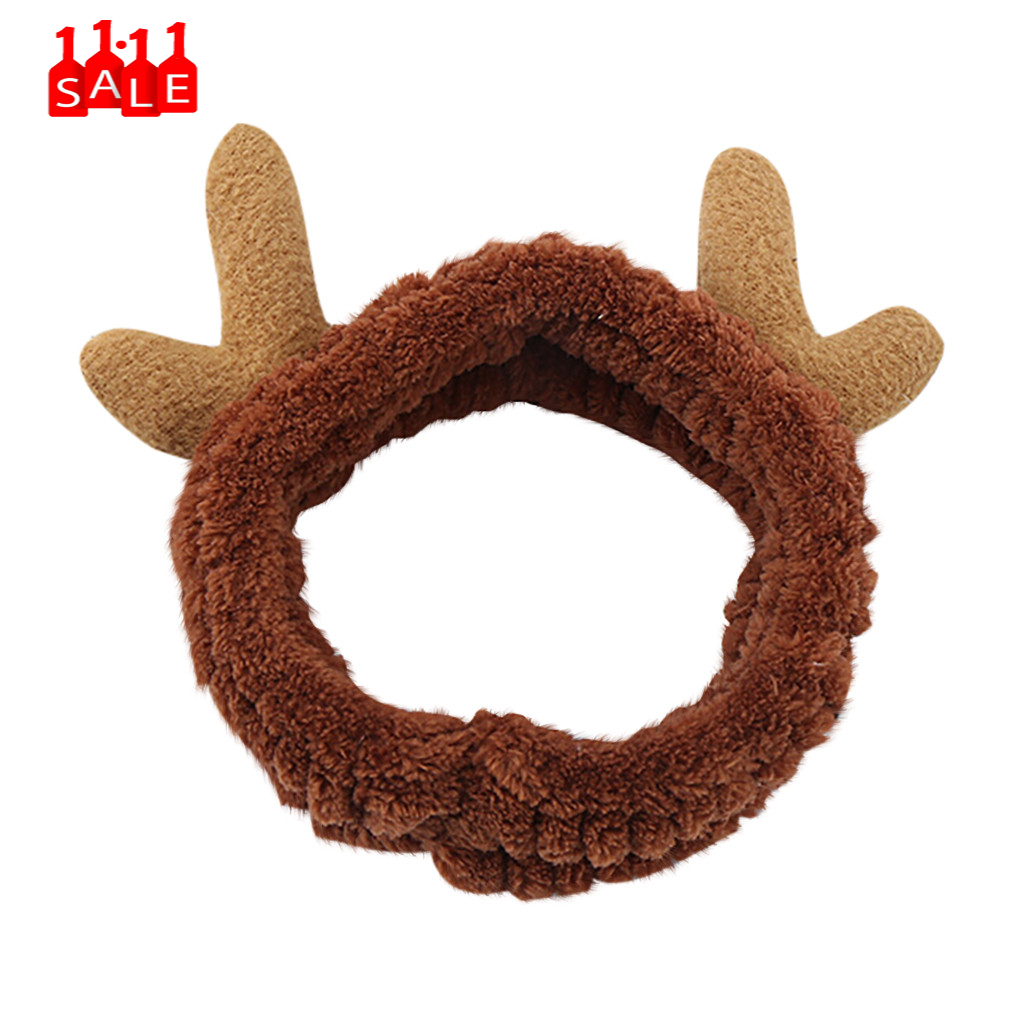 Christmas gift Antlers Velvet Accessories Headband Hairband Cartoon elk Fashion hair ties Women Christmas tiara de cabelo #ZC