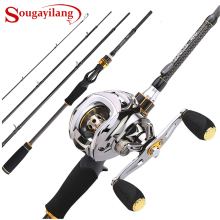 Sougayilang Baitcast Rod Reel Combo Портативный 4 секции M мощность литья удочка с 11+ 1BB baitcasing Рыболовная катушка комплект