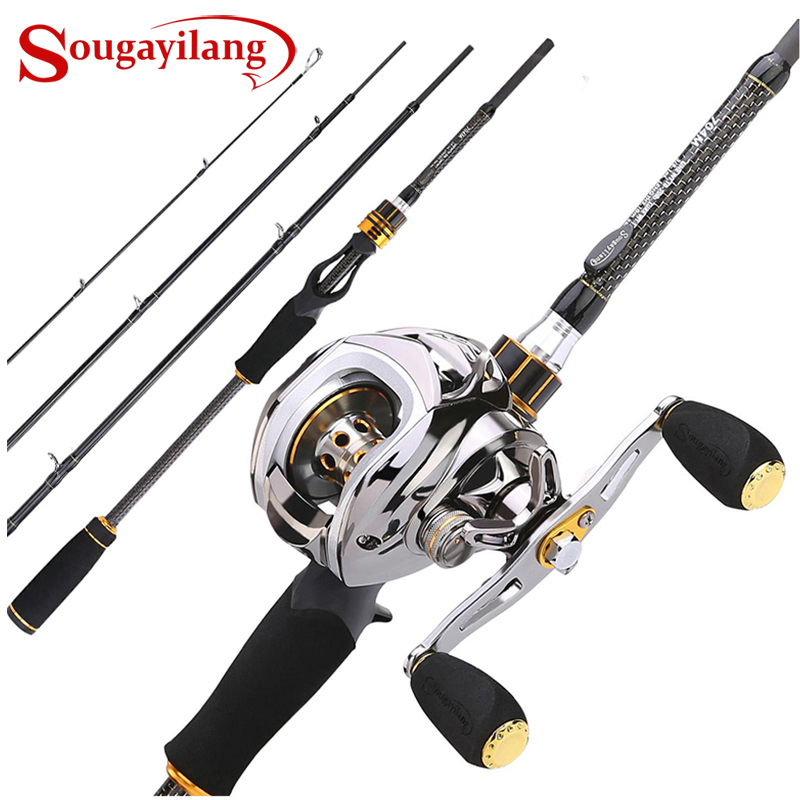 Sougayilang Baitcast Rod Reel Combo Portable 4 Section M Power Casting Fishing Pole With 11+1BB Baitcasting Fishing Reel Kit