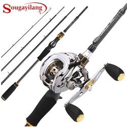 Sougayilang Baitcast Rod Reel Combo Portable 4 Section M Power Casting Fishing Pole with 11+1BB Baitcasting Fishing Reel Kit