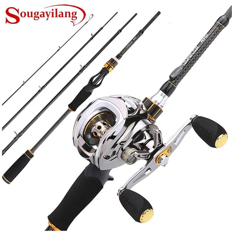 Sougayilang Baitcast tige bobine Combo Portable 4 Section M puissance coulée pôle de pêche avec 11 + 1BB Baitcasting pêche bobine Kit