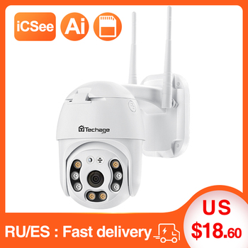 Techage 1080P PTZ Wifi Camera  H.265X Waterproof Speed Dome Outdoor Wireless Camera Two Way Audio Home  CCTV Surveillance Camera 1