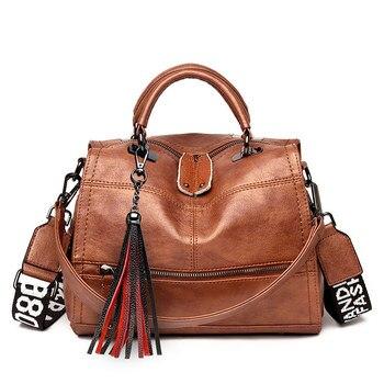 2019 Women Leather Handbags High Qualit Tassel Female Shoulder Crossbody Bags for Women Casual Tote Bag Vintage Sac A Main New 1