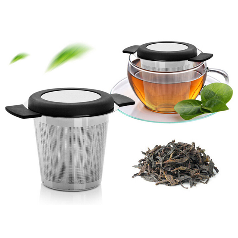 Stainless Steel Tea Strainer With Lid Double Handle Reusable Tea Strainer Infusers Herb Filter For Mug Teapot Tea Accessories