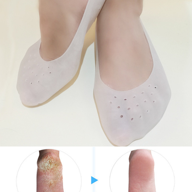 1Pair Gel Sock Silicone Foot Care Tool Feet Protector Pain Relief Crack Prevention Moisturize Dead Skin Removal Sock With Hole