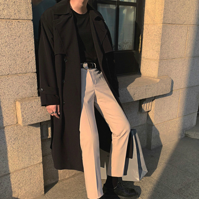 IEFB Men's Wear 2021 Spring  Fashion New Double Breasted Clothes Male Long Coat Loose Overcoat Trend Handsome Casual Windbreak 4
