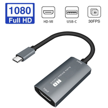 HD-MI to USB-C Video Capture Card HD 1080P Type C to HD-MI Video Capture Board Game Record Live Streaming Broadcast
