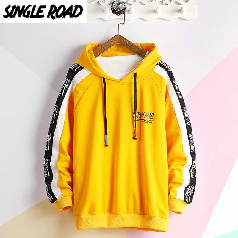 SingleRoad Mens Hoodies Men 2020 Side Striped Oversized Japanese Streetwear Hip Hop Harajuku Anime Yellow Sweatshirt Hoodie Men
