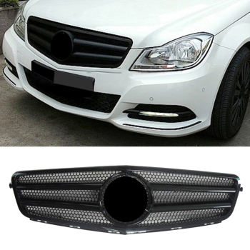 Car Front Grill Upper Grille For Mercedes-Benz W204 C-CLASS C63 C250 C300 C200 C350 2007-2012 2013 2014 Gloss black ABS image