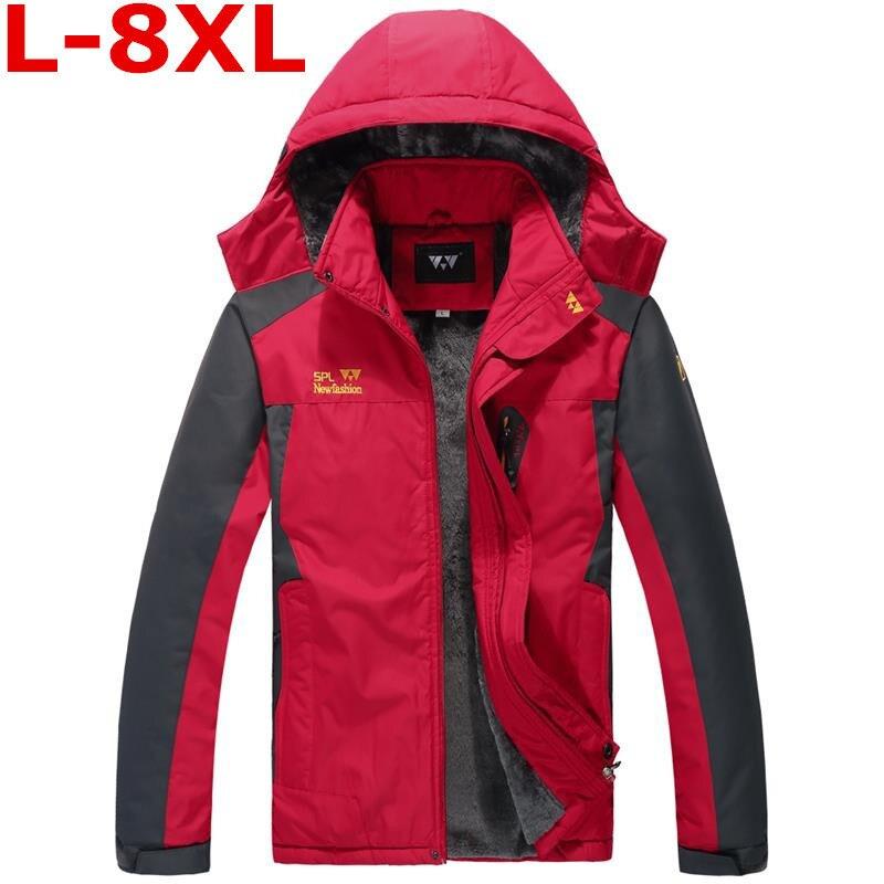 New Plus Size  8XL 9XL 7XL 6XL  Colors Warm Outwear Winter Jacket Men Windproof Hood Men Jacket Warm Men Parkas Large Size