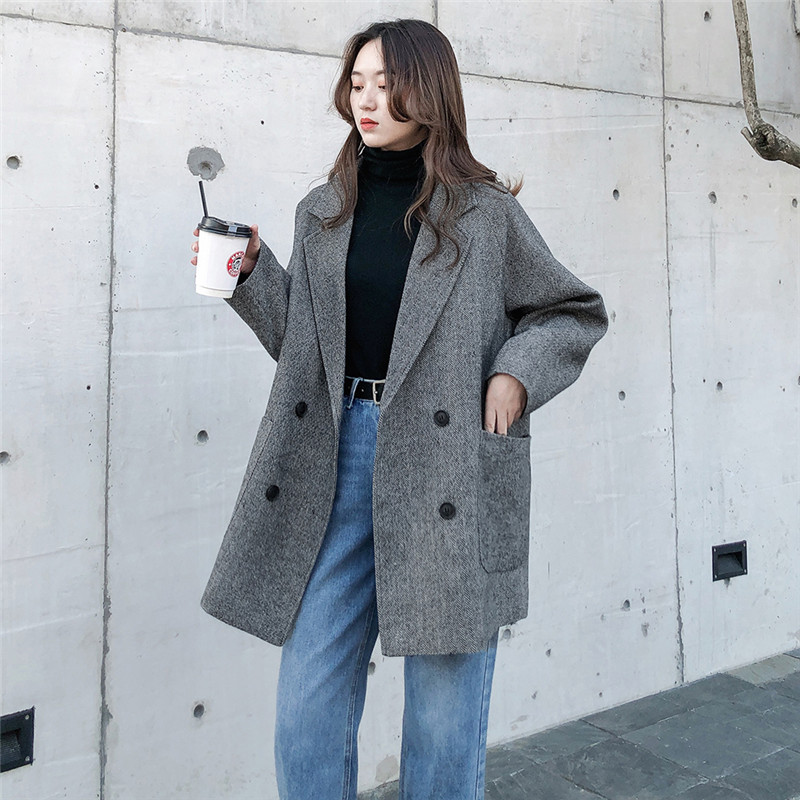 2020 Fashion Plus Size Casual Woolen Coat Women Spring Autumn Retro Suit Winter Blazers Jackets Girls Outerwear Xa430