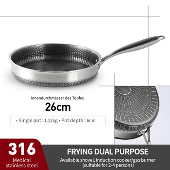 316/304 Stainless Steel Frying Pan High Quality Pan Fried Steak Non Stick Pan General Purpose Induction Cooker Honeycomb Wok Cookware Home & Garden Home Garden & Appliance Kitchen Tools & Gadgets Kitchen, Dining & Bar Non Stick Cookware Non Stick Cookware Non Stick Frying Pan Color: 26cm pan 316