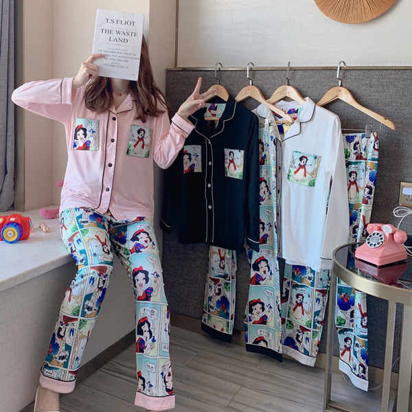 2020 Korean-style New Products Pajamas Women's Spring Cardigan Long Sleeve Cute Cartoon Animation Snow White Princess Home Wear