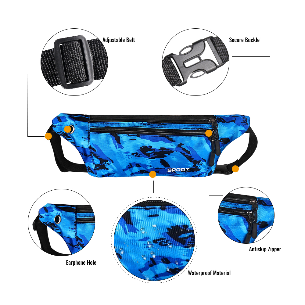 Buylor Waist Pack Women Running Fanny Pack Men Waterproof Hip Bum Bag Crossbody Wallet Pouch Chest Bag for Travel, Sports