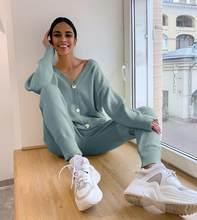 HLBCBG kadın örme eşofman balıkçı yaka kazak günlük giysi sonbahar kış 2 parça Set örgü pantolon spor Suit Femme giyim
