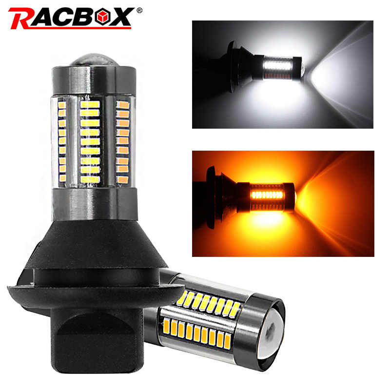 2Pcs T20 7440 66SMD Car DRL Running Light White S25 1156 BA15S BAU15S Lamp Bulbs 12V Turn Signal Light Amber with Canbus