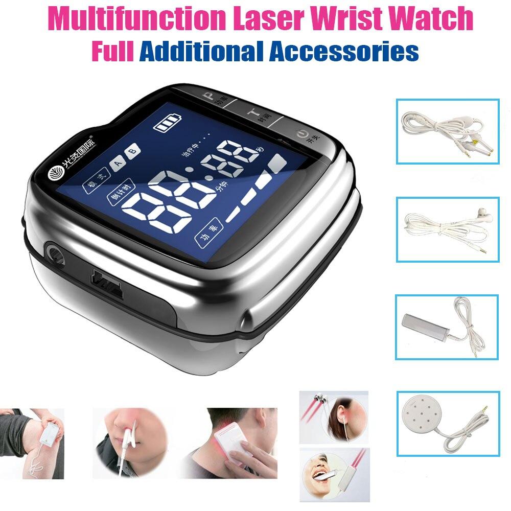 LASTEK montre-bracelet multifonction soulagement de la douleur rhinite pharyngite diabétiques Hypertension accessoires complets dispositif de thérapie au Laser