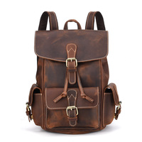 Vintage European Style Genuine Leather Drawstrings Bag COOL Fashion Natural Crazy Horse Leather Men Backpack