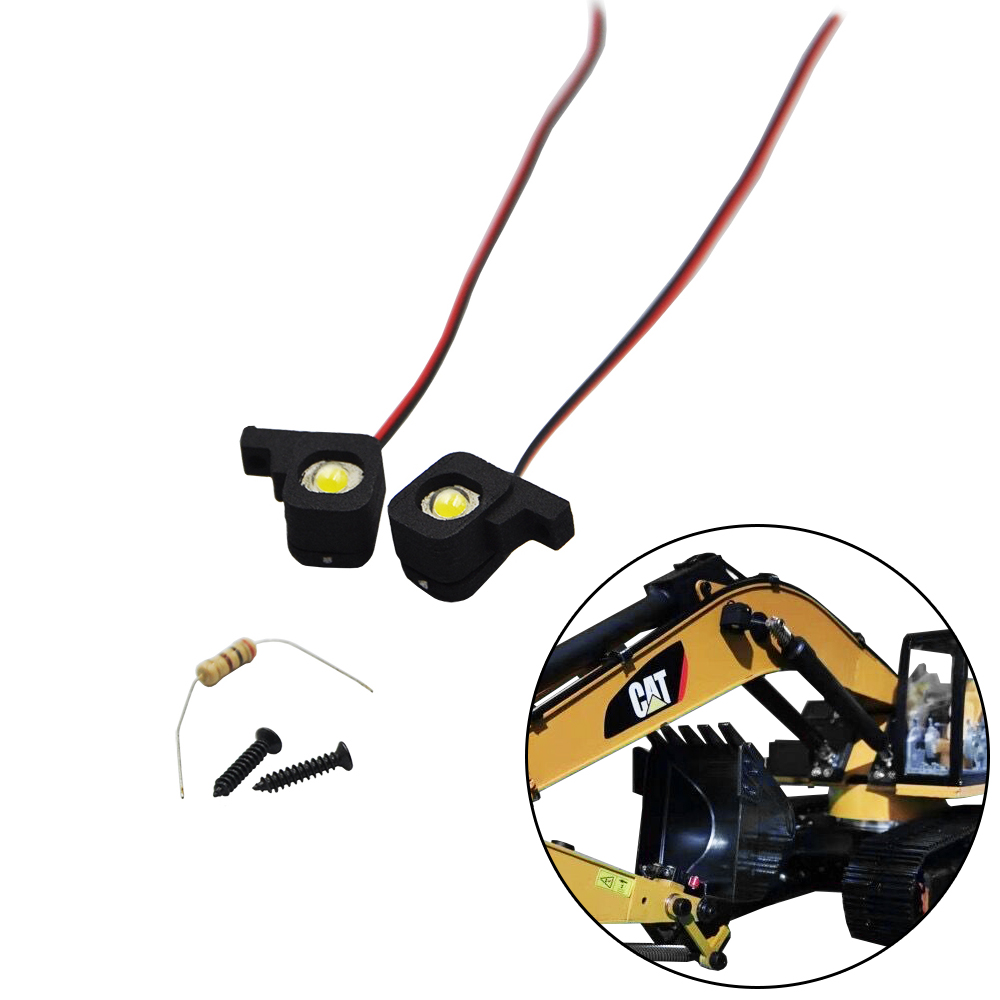 2PCS 4V Light RC Excavator Boom Lighting System For HUINA 1550 RC Crawler Car 15CH 2.4G 1:14 RC Metal Excavator Arm  LED Part