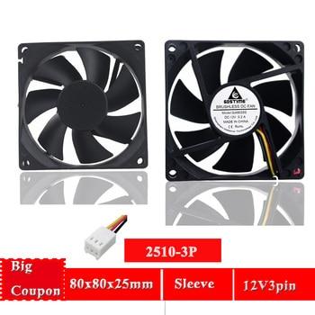 Gdstime 2 PCS 8025S 80x80x25mm 12V 3Pin 3 Wire DC Cooling Fan 80mm for computer case Cooler fan ac fan s254ap 11 2 3 110v sinwan 3 wire 25489 cooling 620470cfm 19001450 rpm
