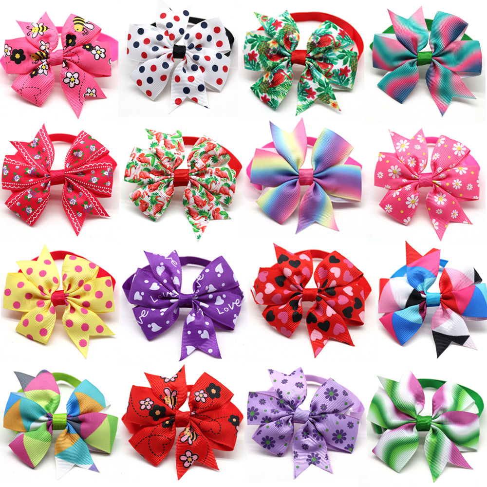 Wholesale 100pcs Pet Dog Bow Tie Handmade Dog Accessories Fashion Cute Pet Bowties Dog Grooming Products Pet Shop Dog Supplies