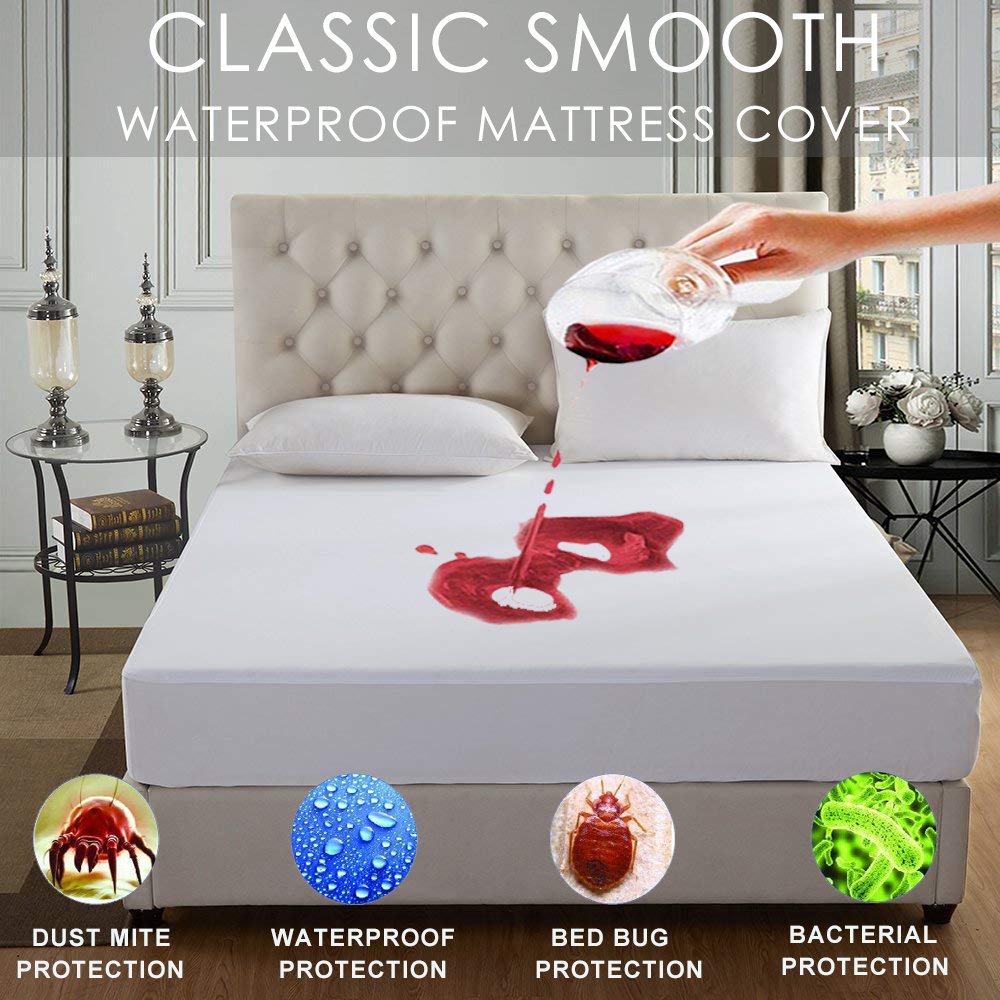 LFH Smooth Waterproof Mattress Protector Cool Touch  Waterproof Dust Mites Bed Cover For Mattress Machine Washable