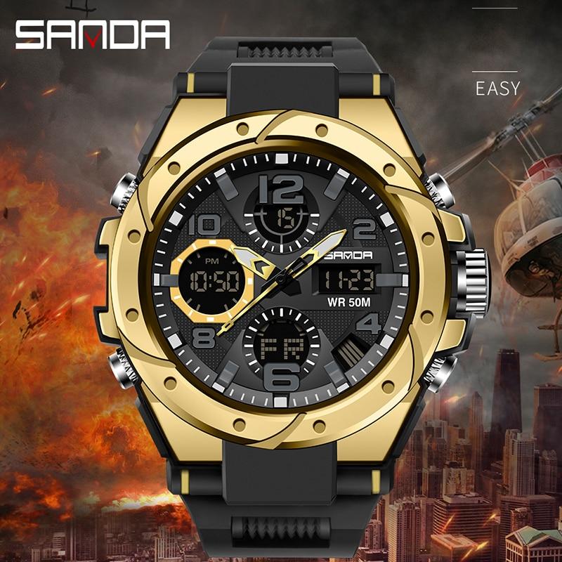 Sport hommes montre haut de gamme numérique pointeur horloge antichoc chronomètre rapport montres 50M étanche hommes montre SANDA heures temps