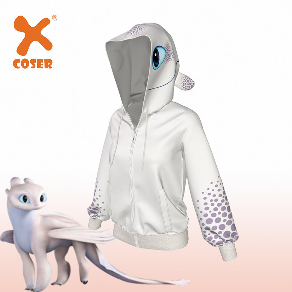 XCOSER How To Train Your Dragon 3 Light Fury Creative Hoodie White Polyester With High Quality Hoodie Cosplay Lovers Dress