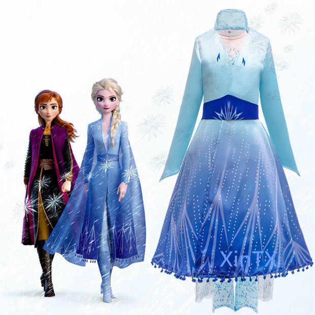 Платье Эльзы для девочек, платья для девочек, карнавальный костюм Анны, вечерние платья на день рождения, платье принцессы для девочек ясельного возраста, детская одежда