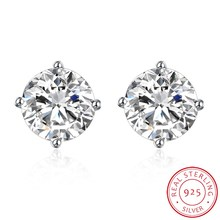 diamond earrings  for women sterling silver jewelry Classic S925 Sterling Silver Small Stud Earrings