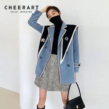 Cheerart 2 Stuk Winter Wollen Jas Tweed Jas 2021 Fashion Vrouwen Blauw Double Breasted Designer Jas 2020 Mode Overjas