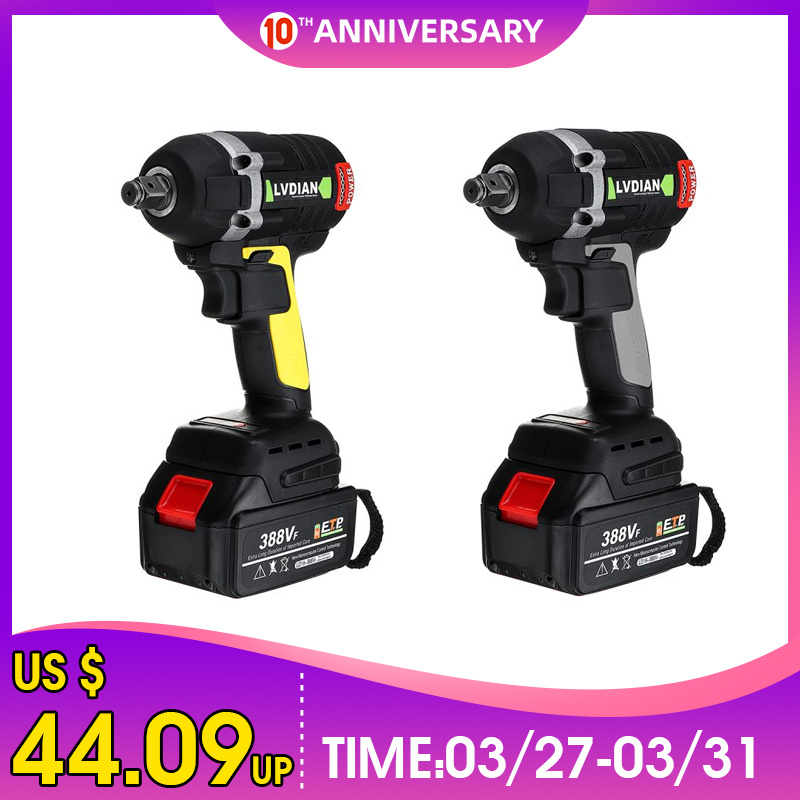 Upgraded 630NM 388VF 19800mAh Rechargeable Brushless Cordless Electric Impact Wrench 3 In 1 With 2 Li-ion Battery Power Tools