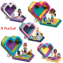 5pcs/lot Emma's Olivia's Mia's Heart Box Compatible Legoingly Friends 41354 Building Blocks Kids Toys for Kids Christmas Gift все цены
