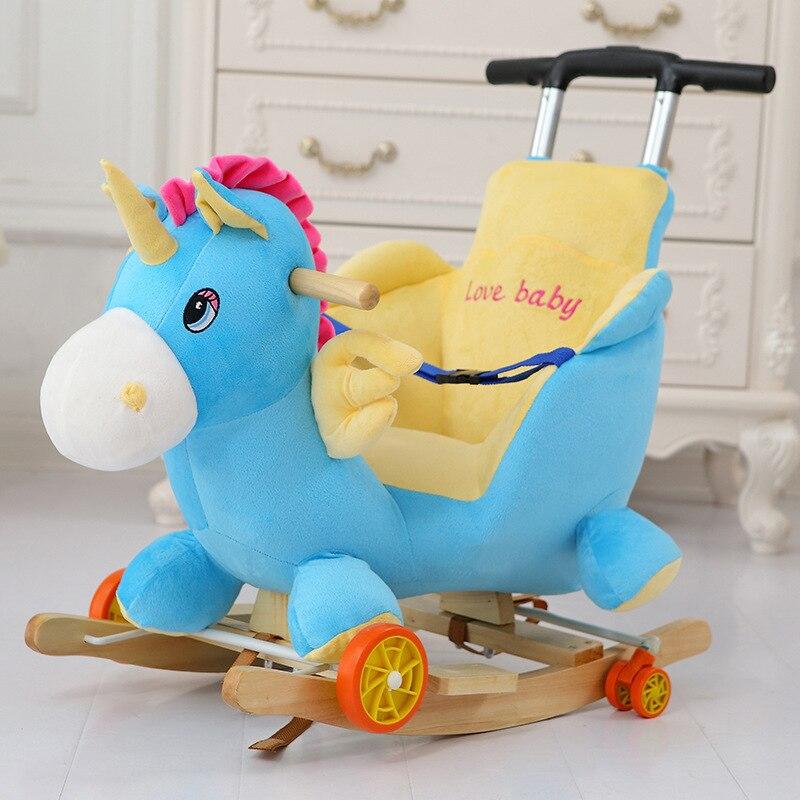 Multi funktion Holz & plüsch tier Einhorn Elefant Bär Schaukel Pferd Trojaner spielzeug Schaukel Stuhl baby wagen Kind trolley auto - 3