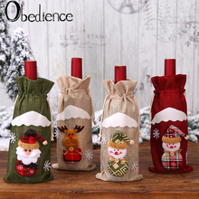 Obedience Christmas decorations table creative linen Old Man Doll champagne set red wine bottle bag gift