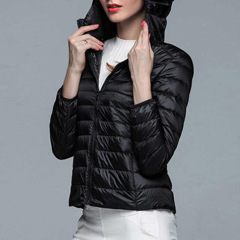 Sfit 2019 ผู้หญิงฤดูใบไม้ร่วงฤดูหนาวสบายๆสีขาวเป็ดลงเสื้ออบอุ่นเสื้อ Lady PLUS ขนาดเสื้อแจ็คเก็ตหญิง Hooded parka ใหม่