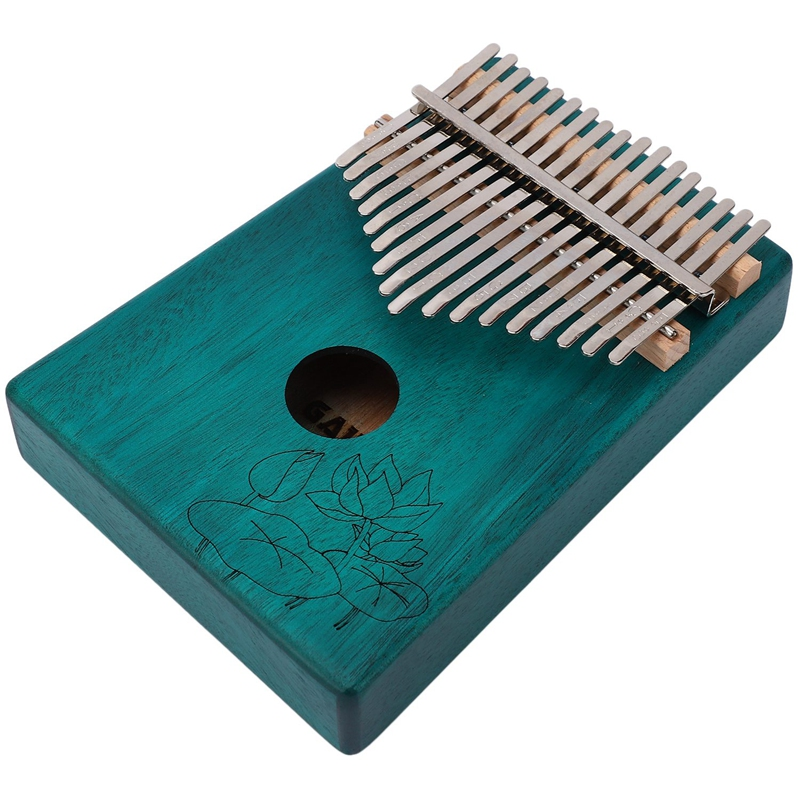 17 Keys Kalimba Lotus Flower Thumb Piano Mahogany Wood Finger Piano Musical Instrument With Tuner Hammer Storage Box